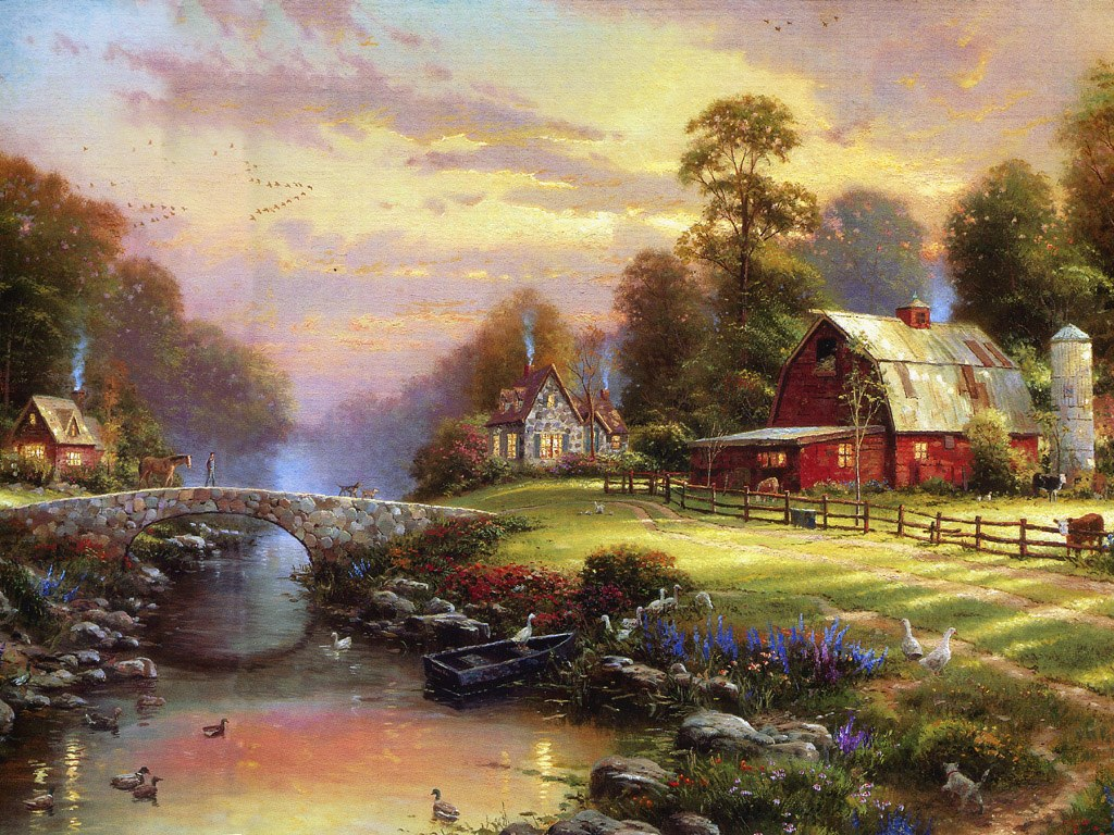 A warrior for light in memory of thomas kinkade emmalee for Oil paintings for the home